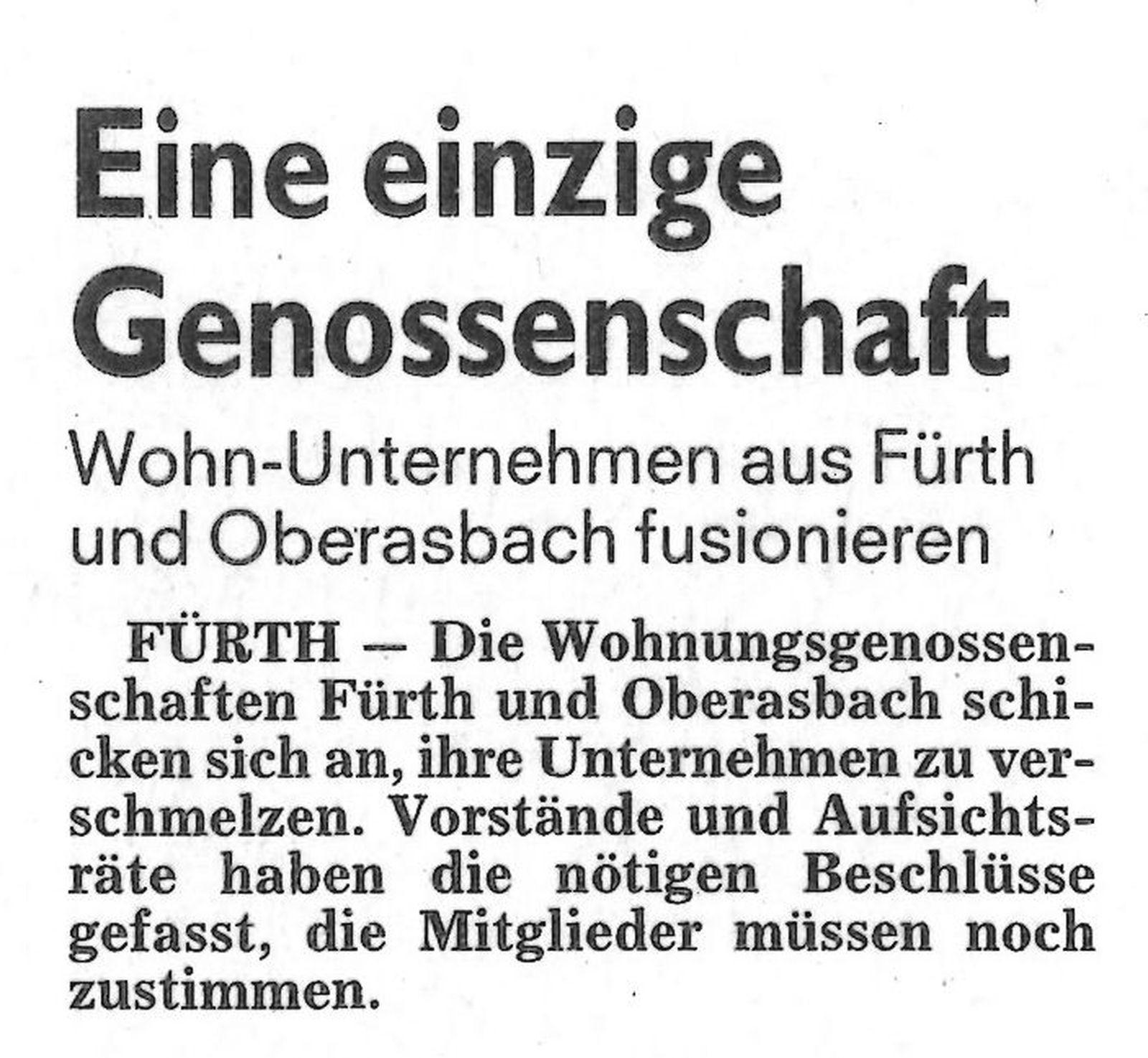 Wohn-Unternehmen aus Fürth und Oberasbach fusionieren …