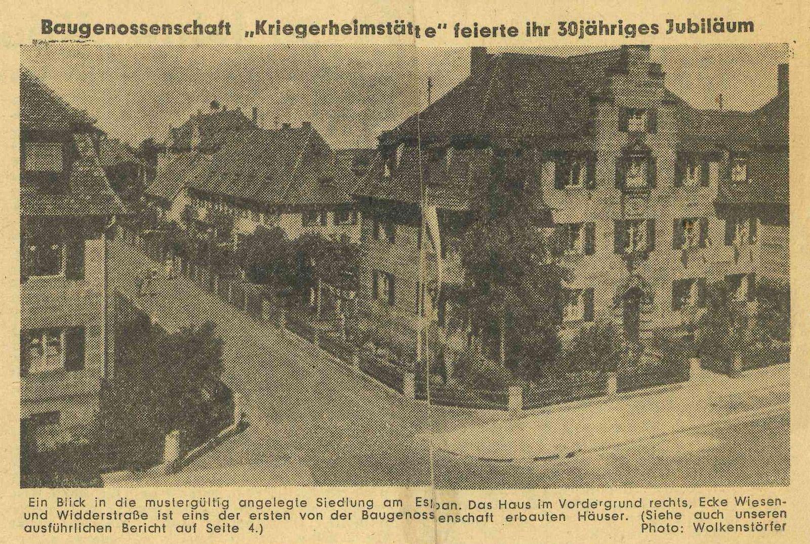 "Baugenossenschaft ""Kriegerheimstätte"" feierte ihr 30jähriges Jubiläum …"