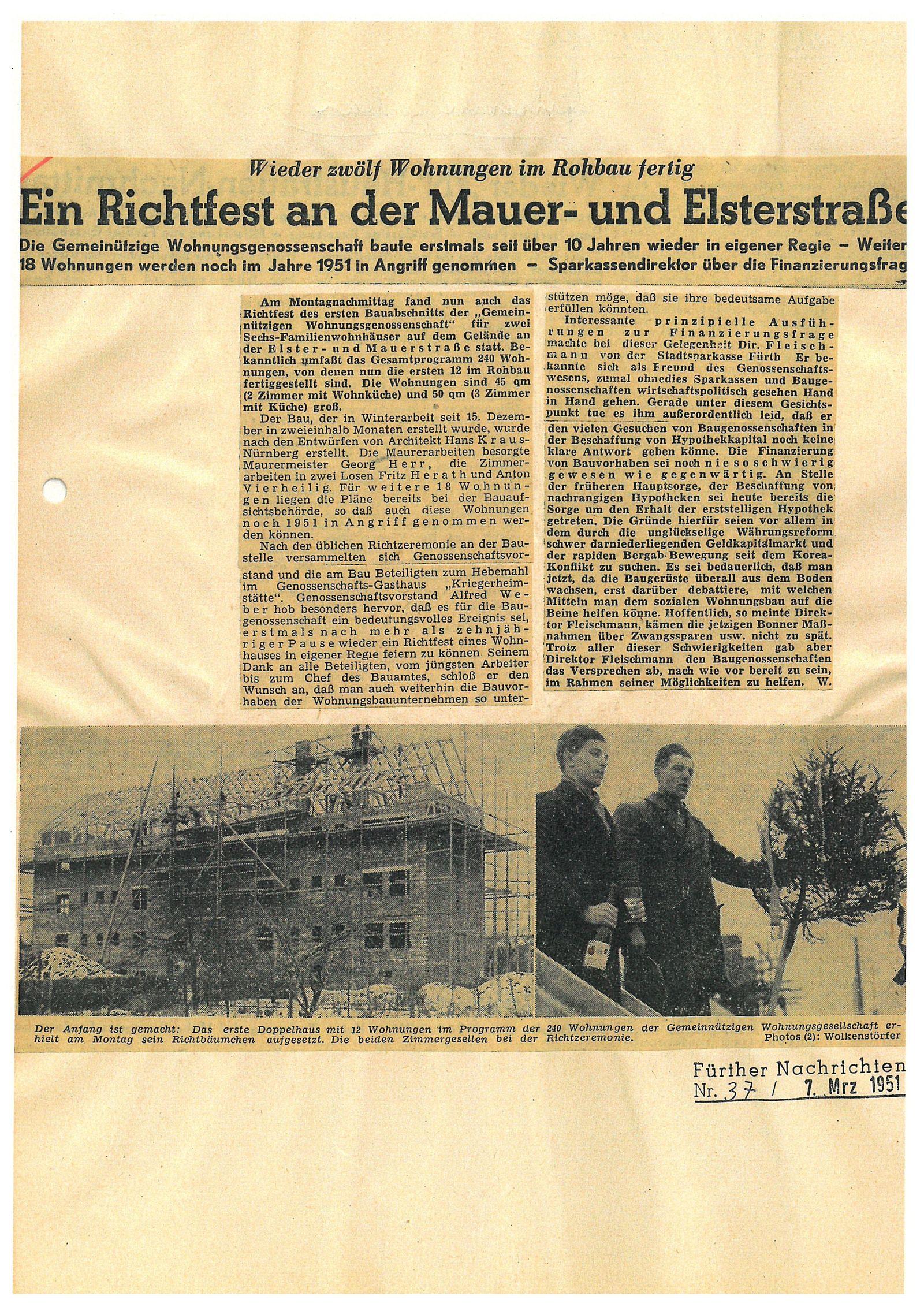 Ein Richtfest an der Mauer- und Elsterstraße …