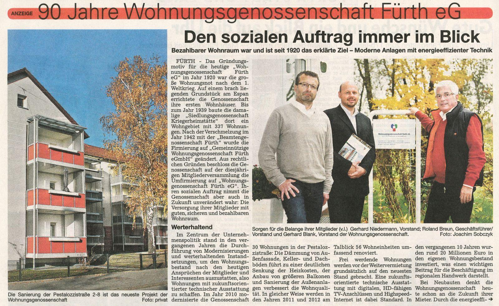 90 Jahre Wohnungsgenossenschaft Fürth eG …