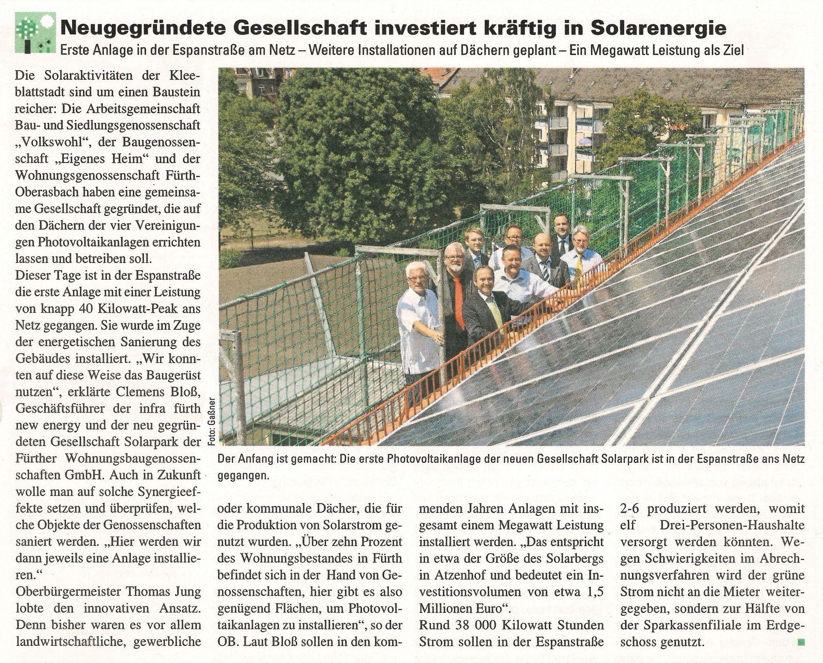 Neugegründete Gesellschaft investiert kräftig in Solarenergie …