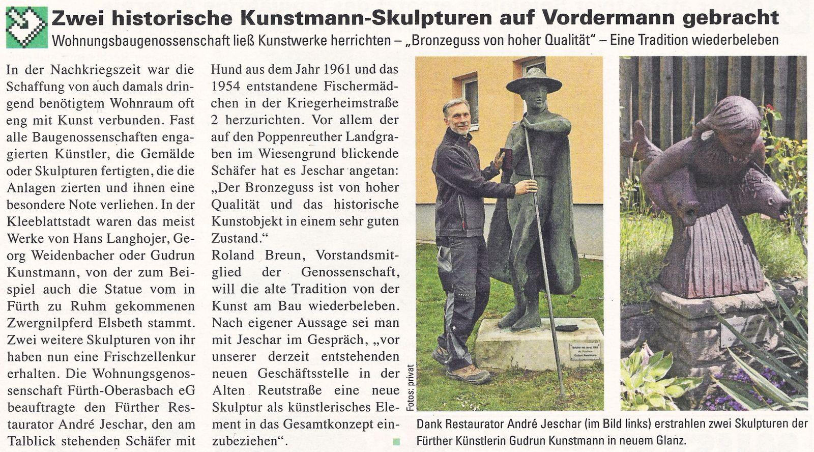 Zwei historische Kunstmann-Skulpturen auf Vordermann gebracht …